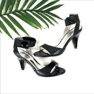 COACH and Four Black Button Leather Open Toe Heels